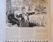 SALE - antique advertisement - You Said it UNCLE - Philco Corporation, military, Uncle Sam - illustrated by Sid Hix, wartime