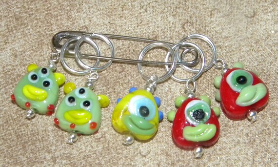 Quirky Set of 5 Lampwork Alien Stitch Markers Group 1