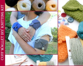 Hand Knitting DIY Kit for Basic Cuff Wrist Wallet Case (for iPod, MP3, ID, Creditcards, etc) - Solid or Two Tone Cuffs