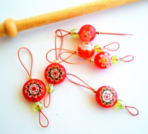 Bead Stitch Markers - Set of 6 Handmade Knitting Markers - Orange-Red Mix Flat / Round Beads
