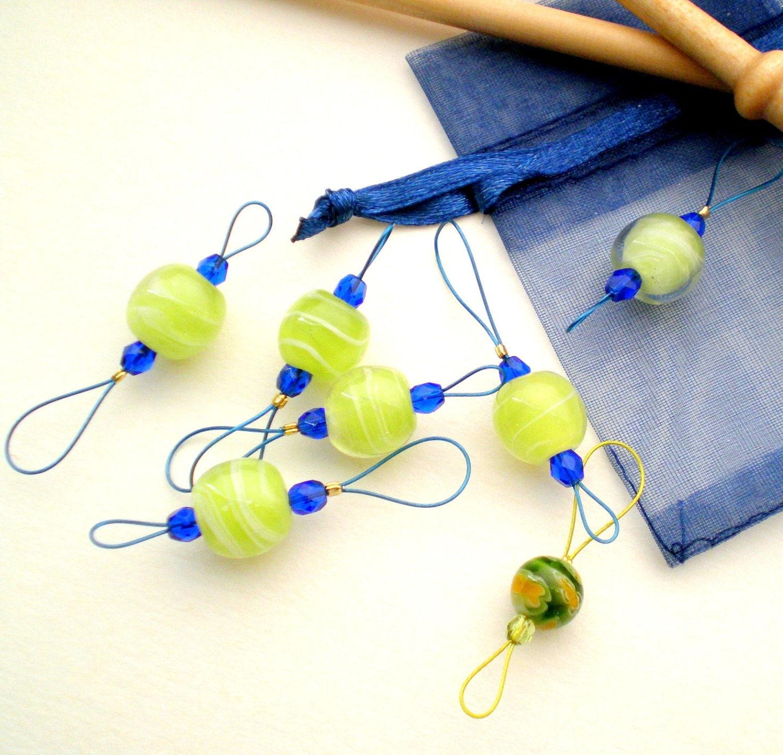 Knitting Markers Etsy : Knitting stitch markers set of handmade bead