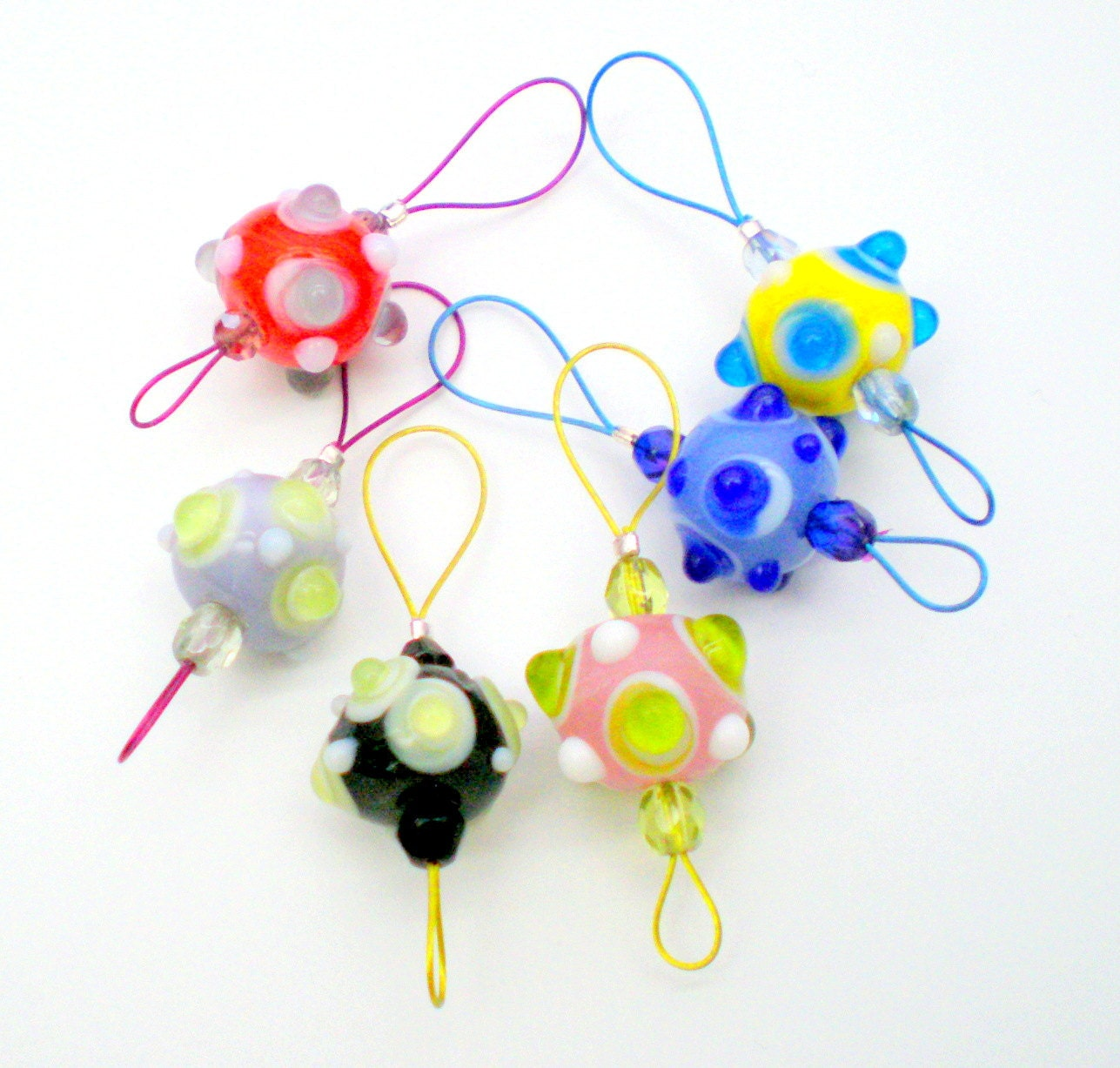 Knitting Markers Beads : Bead knitting stitch markers set of handmade