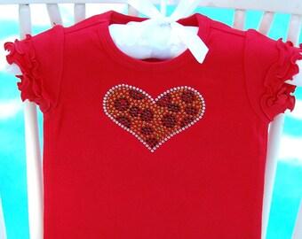 Boutique Quality Cheetah/Leopard Print Rhinestone Heart Short Sleeve Shirt