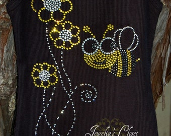 Bumble Bee Bling Tank Top- Great for Bumble Bee Theme Birthday Parties, Portraits, Halloween Costume- Pair with a Tutu or Pettiskirt