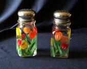 Tulip Salt and Pepper Shakers Painted Large Spring Flower Glass Salt & Pepper Shakers by Lisa Hayward