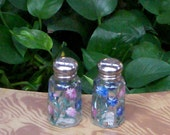 Painted Glass Bachelor Button Salt and Pepper Shakers Hand-painted Bachelor's Buttons Glass Salt & Pepper Shakers by Lisa Hayward