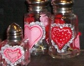 Painted Glass Heart Salt and Pepper Shakers Red Heart Salt & Pepper Shakers Hand-painted by Lisa Hayward - Valentine's Day