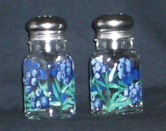 Blueberry Painted Glass Salt and Pepper Shakers Hand-painted Fruit Berry Salt & Pepper Shakers by Lisa Hayward