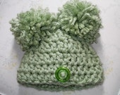 Super Cute....Sage Green .....Super Chunky Yarn Pom Hat.... Infants...Boy or Girl.......Comes in 3 sizes....Photo Prop