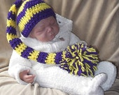 Purple and Yellow..... Stripes.... Long Tail..... Pom Hat....3 Month Size....  PHOTO PROP...Ready to Ship...Minnesota Vikings