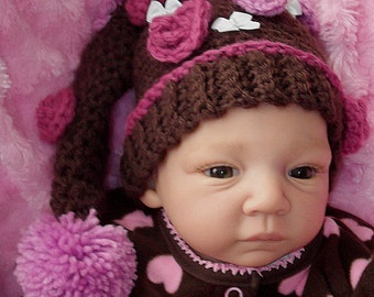 Unique....Chocolate Brown.... Elf Hat.... Violet Azalea Flowers... Newborn up to 3 Month ....READY  to  SHIP for PHOTOS