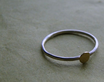 18k gold and silver band - gold circle - delicate gold and silver ring MADE TO ORDER