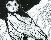 Snowy Owl (Black or White)  - Original Linocut