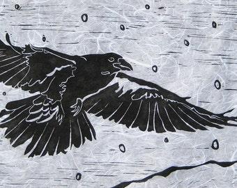 Raven in Snow - Original Linocut Print (Red or White)