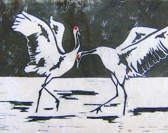 Dancing Cranes - Original Linocut