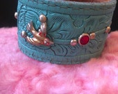 Hand Painted Mint Green Vintage Leather Swallow Red Rhinestone Studded OOAK Cuff Bracelet, s-m