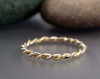 14k Gold Wedding Ring - Two Tone Twist in Solid Rose Gold, White Gold or Yellow Gold - 2 mm wide
