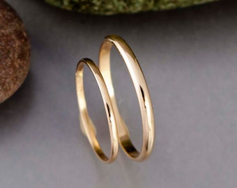Thin Gold Wedding Band Set - 1.3 and 2mm Wide Half Round Wedding Bands in 14k Yellow Gold - The Minimalist
