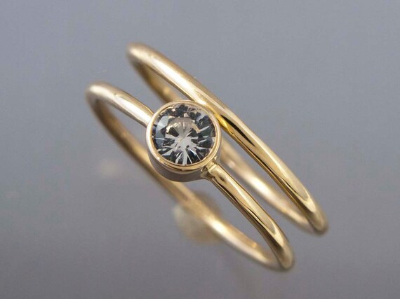 14k Gold and White Sapphire Wedding Ring Set - Thin Engagement Ring and Wedding Band in yellow or white gold