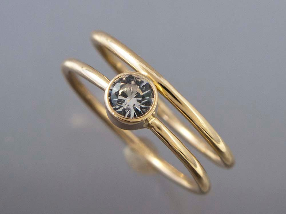 14k Gold And White Sapphire Wedding Ring Set Thin Engagement
