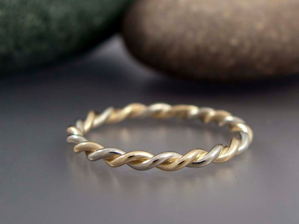 14k Gold Wedding Ring Two Tone Twist in Solid Rose Gold
