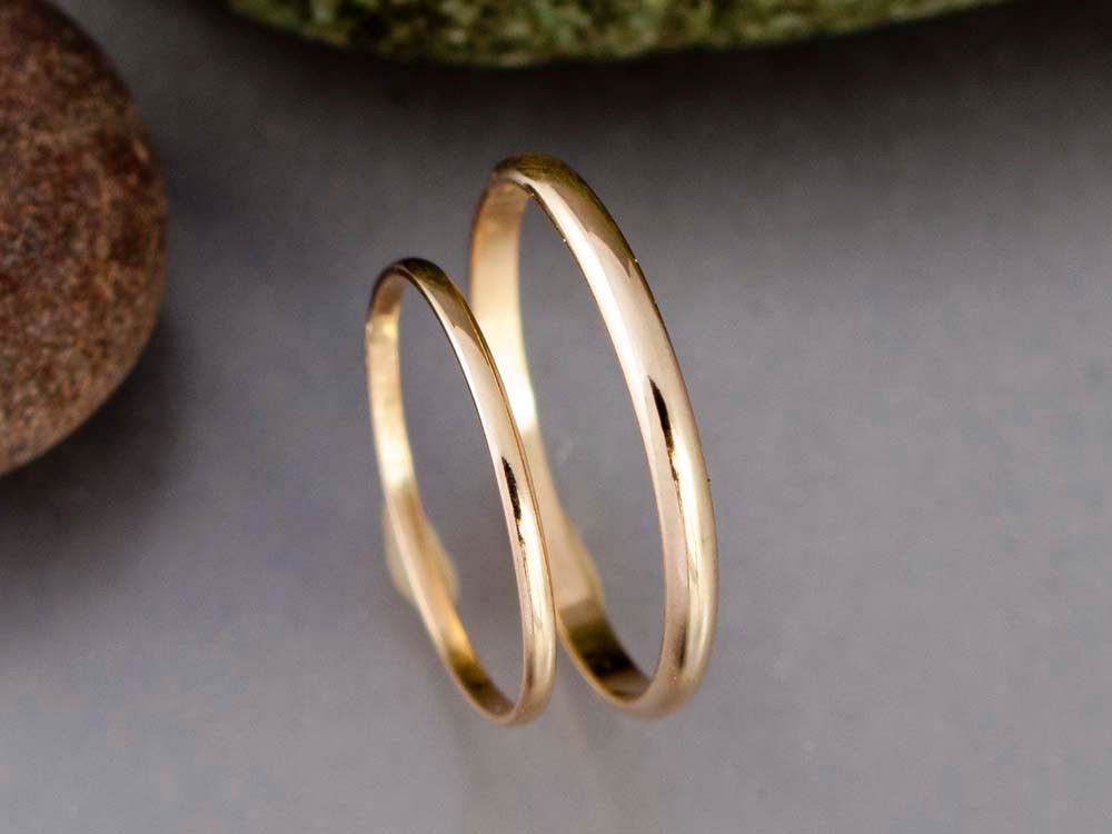 Thin Gold Wedding Band Set 1.3 And 2mm Wide Half Round