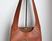 RESERVED FOR LOTTIE // vintage 60s iconic Bonnie Cashin distressed leather shopper // chestnut brown // kiss lock