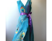 Silk Dress Hand Painted Wrap Party Bridesmaid Formal Prom Summer Elegant Custom   Made for Jacinta