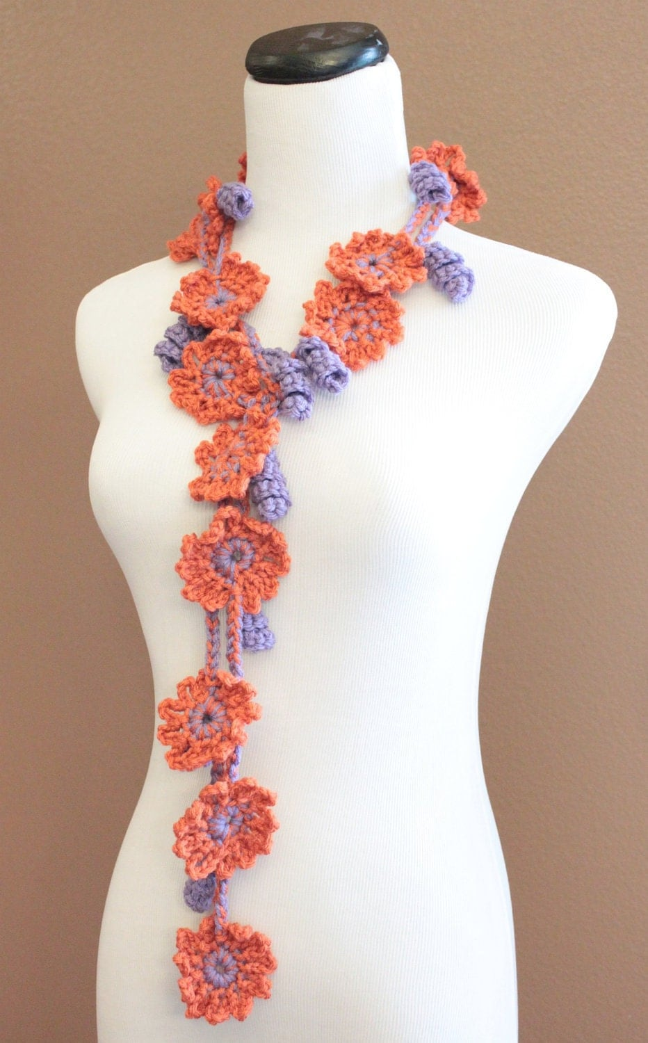Crochet Flower Scarf Crochet Flower Lariat Spring Fashion Womens  Crochet Flower Scarves
