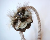 Brown Vintage Lace and Pearl Headband - antique button, feathers, women, teens, girls