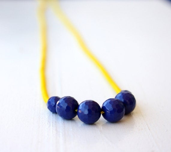 50 percent OFF Blue Agate and Bright Yellow seed beads beaded necklace / spring necklace in blue and yellow / Handmade under 35