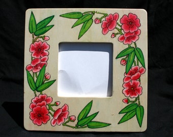 20% OFF Cherry Blossom Wood Photo Frame Painted Pyrographed
