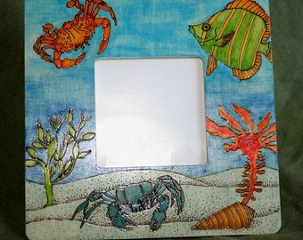 20% OFF Sealife Painted and Pyrographed Wood Photo Frame