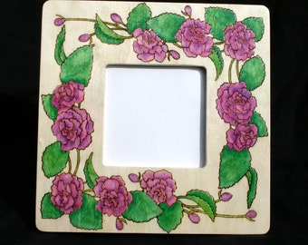 20% OFF Purple Flowers and Leaves Painted and Pyrographed Wood Photo Frame