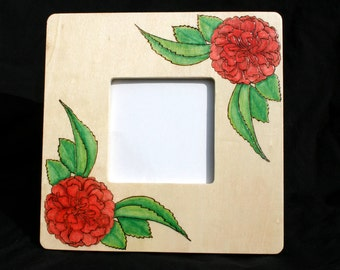 20% OFF Red Roses Painted and Pyrographed Wood Photo Frame