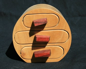 15% OFF Rounded Wood 3 Drawer Jewelry or Trinket Box Poplar