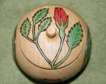 Rosebud Trinket Box Wood Pyrographed and Painted