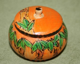 Bamboo with Orange Wood Trinket Box Prographed Painted