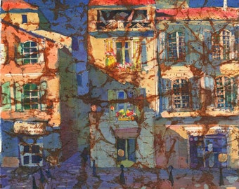 French Windows Watercolor Batik Painting Signed Fine Art Giclee Print