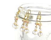 Blush Pink Bridesmaids Earrings, Crystal Earrings, Gold and Pink