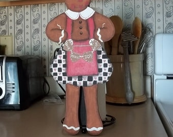 Hand-Painted Wooden Gingerbread Girl Paper Towel Holder