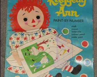 1969 HUGE Raggedy Ann Paint-By-Number Coloring Book Bobbs-Merrill Company FANTASTIC