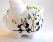 Personalized Piggy Bank Panda Bears and Tiger