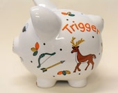 Piggy Bank Personalized Hunting Deer Turkey with Rifle and Bow and Arrow