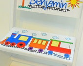 Personalized Child's Stool Train in Primary Colors