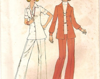 Vintage 70s Jacket Shirt Flared Pants Suit - Easy Jiffy Simplicity Sewing Pattern 6790 -Knit or Woven Fabrics Size 8 UNCUT