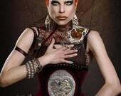 Meschantes Steampunk Clockwork Heart Cameo Corset - Your Size