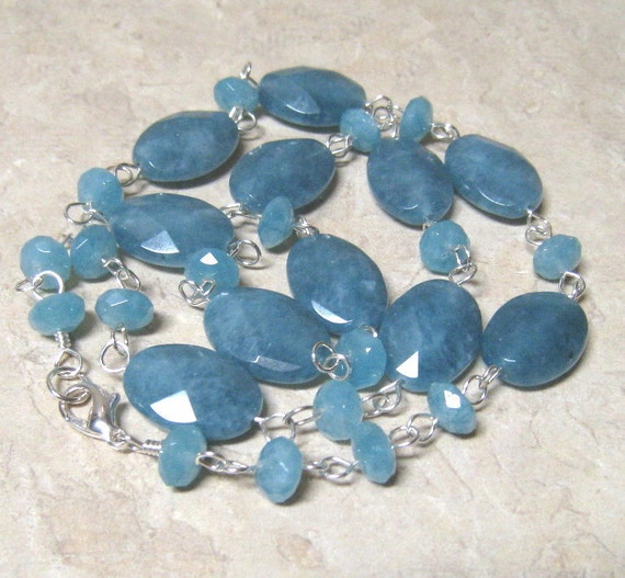 Teal Stone Necklace,  Angelite Jewelry,  Sterling Silver,  Peace Stone