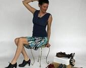 Blue, Navy, and Turquoise Print A-line Skirt, Soirée Skirt,