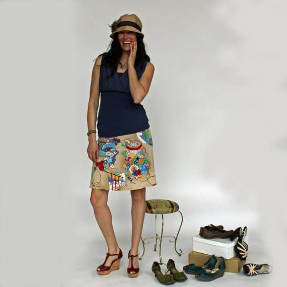 Pagoda Skirt, Funky Asian Print Knit A-line Travel Skirt